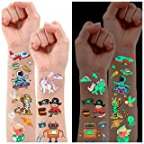 Luminous Temporary Tattoos for Kids, Waterproof Fake Tattoos Stickers with Unicorn Dinosaur Mermaid Pirate Construction Theme for Boys and Girls, Birthday Party Decorations Supplies Favors