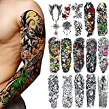 18 Pcs Full Arm Temporary Tattoo Stickers, Waterproof Temporary Tattoo,Black Body Tattoo Stickers For Women,Men,Halloween,Party,Masquerade