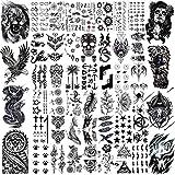 VANTATY 50 Sheets Black Temporary Tattoos For Men Adults Ealge Dragon Lion Wolf Animals, Fake Small Temporary Tattoos For Women Neck Arm Thigh, Skull Tattoo Sticker For Kids Children Boys Girls Tatoos
