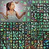 Sinmoe 400 Pieces Glow Temporary Tattoos for Kids Waterproof Luminous Tattoo Sticker Glow Mixed Style Cartoon Tattoo, Unicorn Dinosaur Mermaid Animal Fake Tattoo Stickers Party Supplies, 30 Sheets