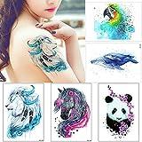 5 Sheets Watercolor Animal Temporary Tattoo Stikcer for Women Men Body Art