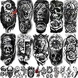COKTAK 22 Sheets 3D Forearm Half Sleeve Temporary Tattoos For Men Women Adults, Large Tribal Lion Warrior Tiger Wolf Flower Skull Fake Tattoo Stickers Halloween, Black 3D Realistic Tatoo Rose Animals