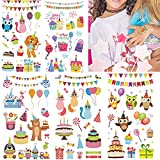 Temporary Tattoo, Fake Tattoos for Kids Adults, 130pcs Waterproof Body Stickers, Cute Tattoo Decorations, Happy Birthday Party Favor Supplies Decor for Boys Girls Children Women Teens 10 Sheets Cake