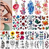 42 Sheets Flowers Temporary Tattoos Stickers, Roses, Butterflies and Multi-Colored Mixed Style Body Art Temporary Tattoos for Women, Girls or Kids